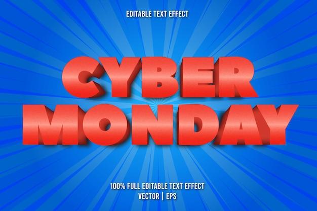 Cyber monday bearbeitbarer texteffekt im comic-stil