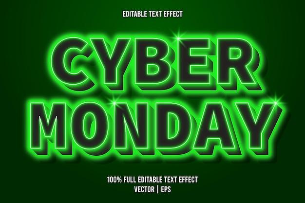 Cyber monday bearbeitbarer texteffekt im neonstil