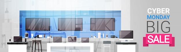 Cyber monday big sale banner über modernem technologiespeicher, einkaufsrabatt-ereignis-konzept