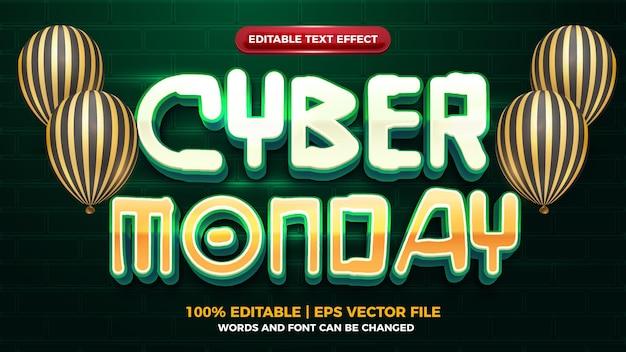Cyber monday futuristischer 3d-editbale-texteffekt
