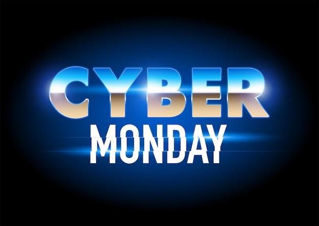 Cyber monday futuristisches chromsymbol für verkaufsförderung, eps 10-vektorillustration
