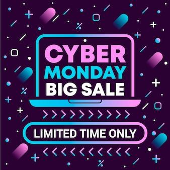 Cyber monday großer abverkauf mit farbverlauf