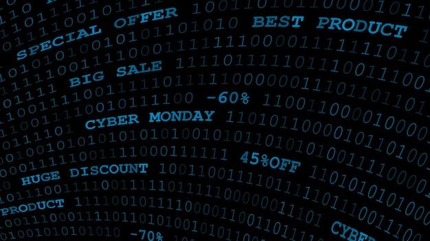 Cyber monday hintergrund von nullen, einsen und inschriften in dunkelblauen farben