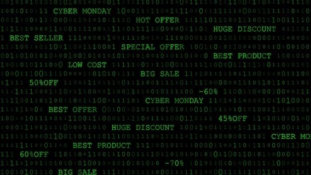 Cyber monday hintergrund von nullen, einsen und inschriften in dunkelgrünen farben
