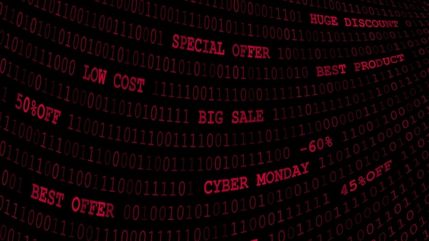 Cyber monday hintergrund von nullen, einsen und inschriften in dunkelroten farben