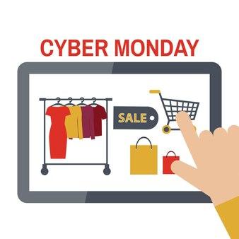 Cyber monday-konzept mit e-commerce-icons-design, vektorillustration