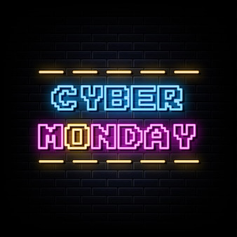 Cyber monday neon sign design element licht banner ankündigung neon schild