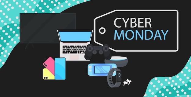 Cyber monday online-verkaufsplakat werbeflyer urlaub shopping promotion banner rabatt konzept horizontale vektorillustration