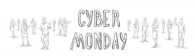 Cyber monday-plakat mit skizze-leute-gruppen-schattenbild-horizontaler fahne