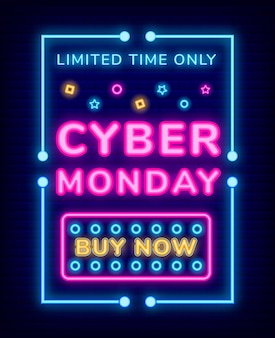 Cyber monday poster und buy now neon link vector