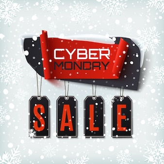 Cyber monday sale, abstraktes banner auf winterhintergrund mit schnee und schneeflocken. designvorlage für broschüre, poster oder flyer.
