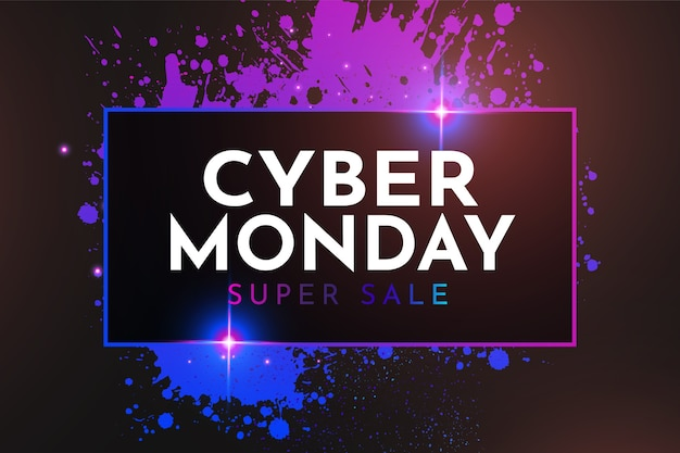 Cyber monday sale mit buntem splash banner