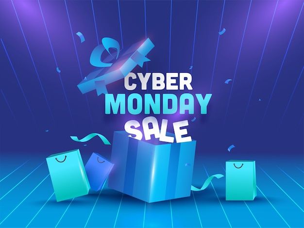 Cyber monday sale text mit realistischer offener geschenkbox