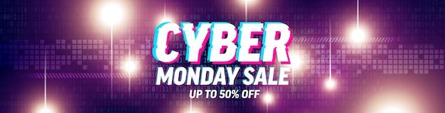 Cyber monday salespecial angebot poster mit binärcode und futuristischem abstraktem hintergrund