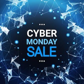 Cyber monday-verkaufs-plakat-design über blauen futuristischen linien hintergrund-technologie-einkaufsikone