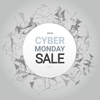 Cyber monday-verkaufs-plakat-design über futuristischen linien hintergrund-technologie-einkaufsikone