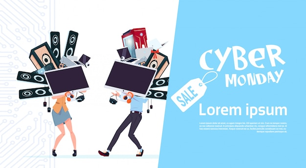 Cyber monday-verkaufs-plakat mit den paaren, die verschiedene moderne geräte über weißem hintergrund halten