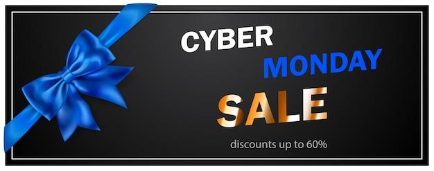 Cyber monday-verkaufsbanner mit blie-bogen und bändern auf schwarzem hintergrund. vektorillustration für poster, flyer oder karten.