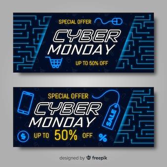 Cyber montag banner im flachen design