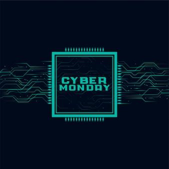 Cyber montag banner im futuristischen stil design