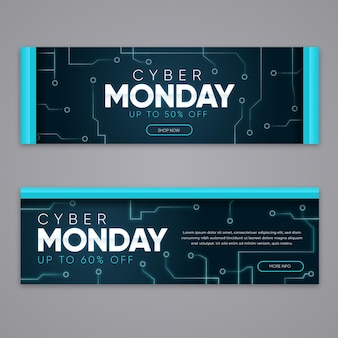 Cyber montag banner in flachem design