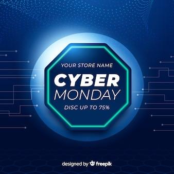 Cyber montag banner mit realistischer technologie