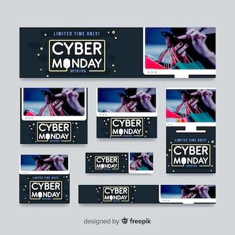 Cyber montag banner schablonen sammlung