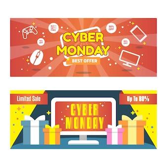 Cyber-montag-fahne mit einkaufsikonen-hintergrund