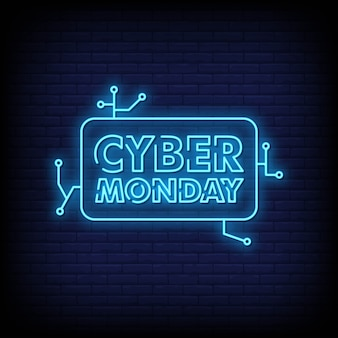 Cyber-montag-fahnen-leuchtreklame-art-text-vektor