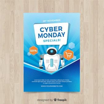 Cyber-Montag-Fliegerschablone mit flachem Design