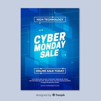 Cyber montag flyer vorlage im flachen design