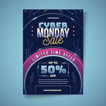 Cyber montag flyer vorlage im realistischen stil