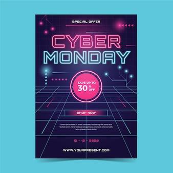 Cyber montag flyer vorlage in flachem design