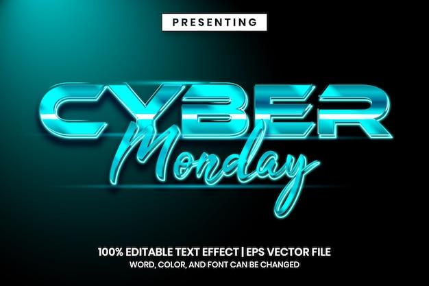 Cyber montag futuristischer techno-texteffektstil