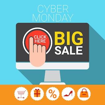 Cyber-montag-großer einkaufsverkaufs-fahne