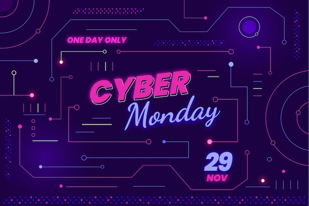 Cyber-montag-hintergrund mit flacher technologie
