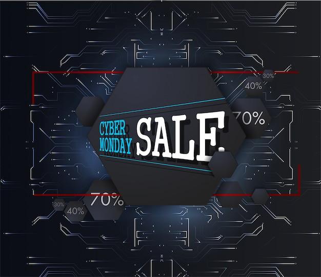 Cyber montag-hintergrund mit futuristischer benutzerschnittstelle. verkaufstechnologie banner