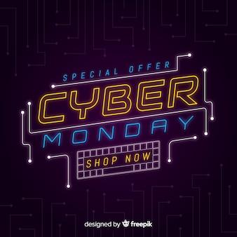 Cyber montag im flachen design