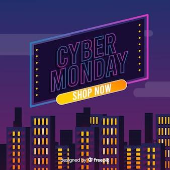 Cyber-montag-konzept mit flachem designhintergrund