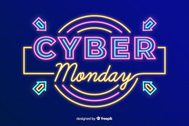 Cyber-montag-konzept mit neonhintergrund