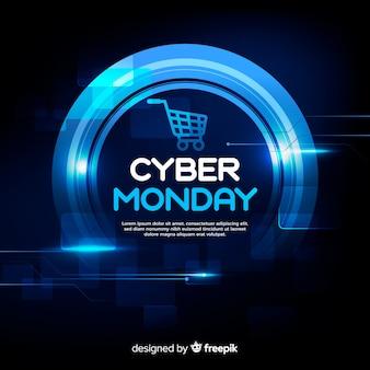 Cyber-montag-konzept mit realistischem hintergrund