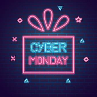 Cyber montag neon auf ziegel hintergrund, verkaufsangebot banner