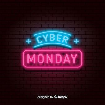 Cyber-montag-neonverkaufshintergrund