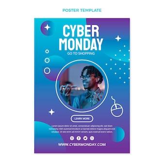 Cyber-montag-plakatvorlage mit farbverlauf