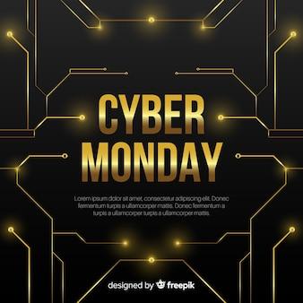 Cyber-montag-schwarzer und goldener verkaufshintergrund