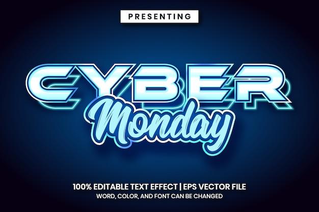 Cyber montag text effekt neon-stil