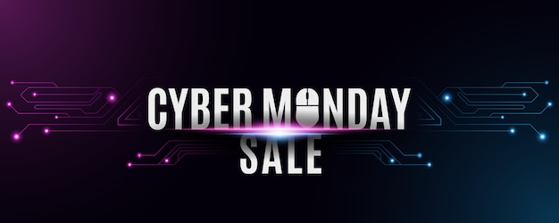 Cyber montag verkauf banner. futuristischer high-tech-hintergrund von einem schaltungs-motherboard. computermaus und text. neonblaue und lila verbindungslinien mit lichtern.
