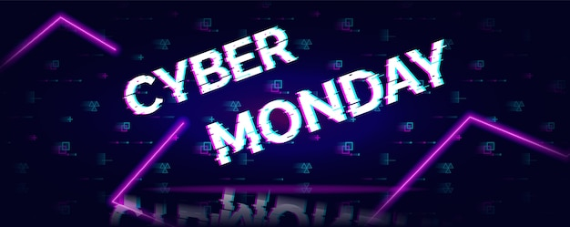 Cyber montag verkauf glitch neon symbol auf abstrakt futuristisch