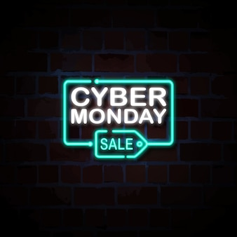 Cyber montag verkauf neon style zeichen illustration