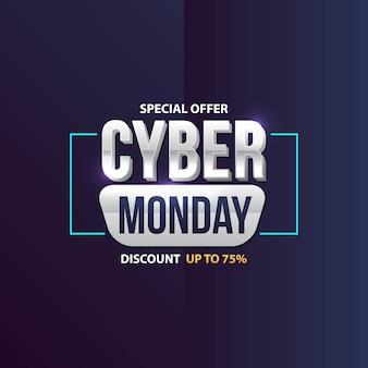 Cyber-montag-verkaufsfahne mit modischem geometrischem hintergrund